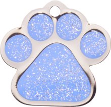 Light Blue Sparkle Paw Print Small
