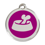 Purple Bone in Bowl Pet Tag