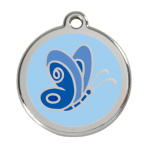 Light Blue Butterfly Pet Tag