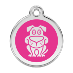 Hot Pink Dog Pet Tag