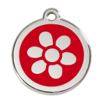 Red Flower Pet Tag