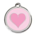 Pink Coloured Heart Pet Tag