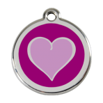 Purple Coloured Heart Pet Tag