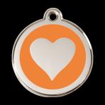 Orange Heart Pet Tag