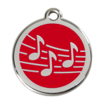 Red Music Pet Tag