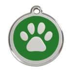Green Pawprint Pet Tag