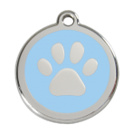 Light Blue Pawprint Pet Tag