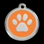 Orange Pawprint Pet Tag