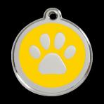 Yellow Pawprint Pet Tag