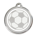White Soccer Ball Pet Tag