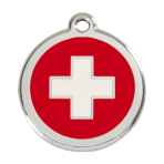 Red Swiss Cross Pet Tag