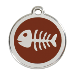 Brown Fish Skeleton Pet Tag