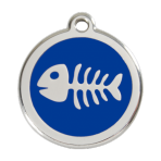 Dark Blue Fish Skeleton Pet Tag