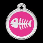 Hot Pink Fish Skeleton Pet Tag