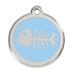 Light Blue Fish Skeleton Pet Tag
