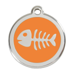 Orange Fish Skeleton Pet Tag