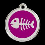 Purple Fish Skeleton Pet Tag
