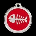 Red Fish Skeleton Pet Tag