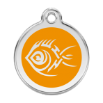 Orange Tribal Fish Pet Tag