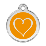 Orange Tribal Heart Pet Tag