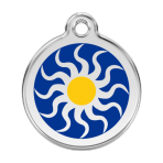 Dark Blue Tribal Sun Pet Tag