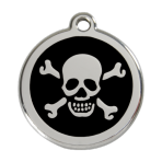 Black Skull & Crossbones Pet Tag