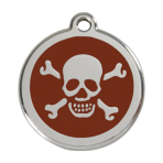 Brown Skull & Crossbones Pet Tag