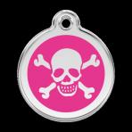 Hot Pink Skull & Crossbones Pet Tag