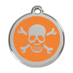 Orange Skull & Crossbones Pet Tag