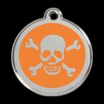 Orange Skull & Crossbones Pet Tag