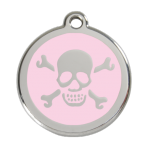 Pink Skull & Crossbones Pet Tag