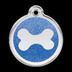 Dark Blue Glitter Bone Pet Tag