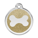Gold Glitter Bone Pet Tag