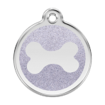Silver Glitter Bone Pet Tag