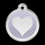 Silver Glitter Heart Pet Tag