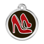 Black Glitter Red Shoe Pet Tag