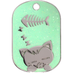 Green Sparkle Sleeping Cat Tag Small