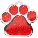 Red Sparkle Paw Print Small