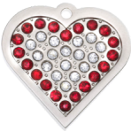 Ruby Bling Heart Pet Tag Small