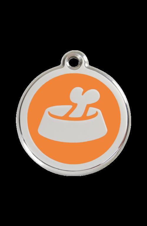 Orange Bone in Bowl Pet Tag