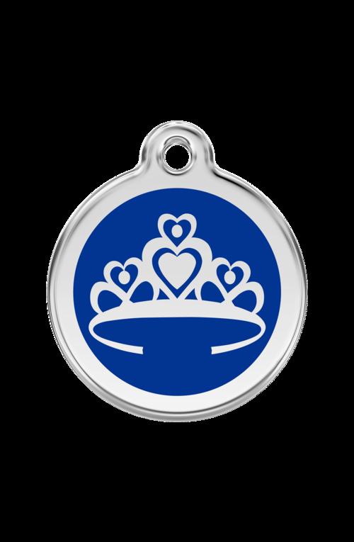 Dark Blue Crown Pet Tag