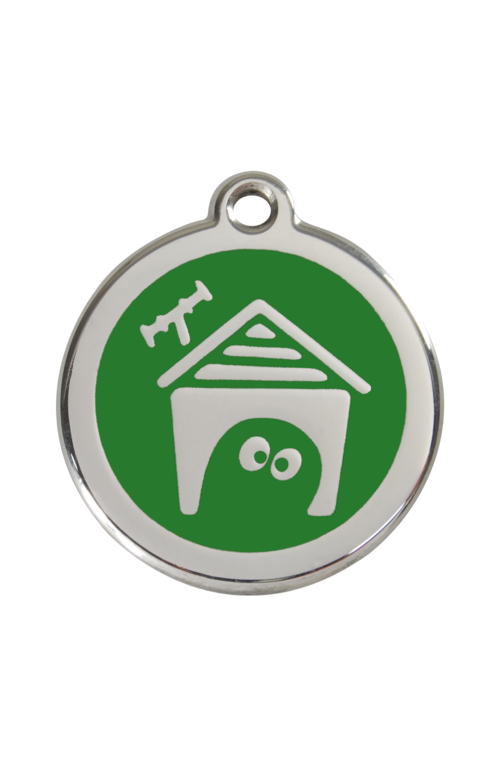 Green Dog House Pet Tag