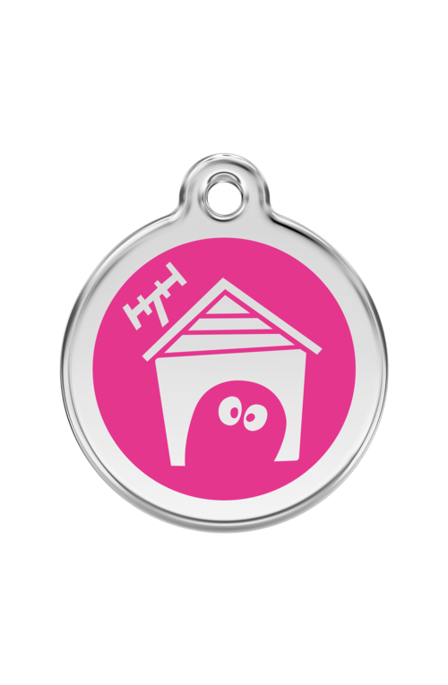 Hot Pink Dog House Pet Tag