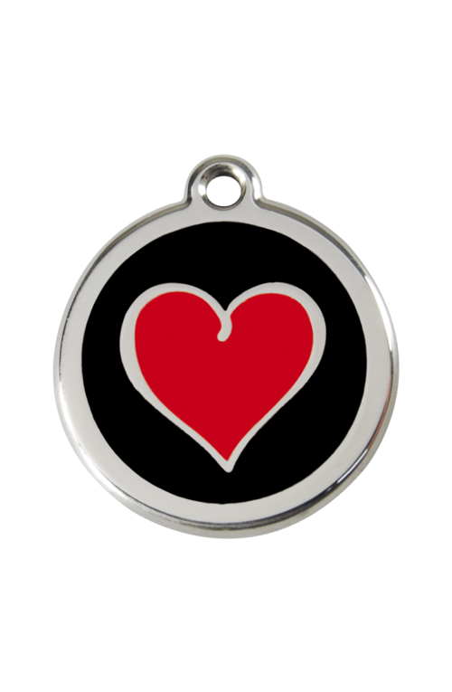 Black Coloured Heart Pet Tag