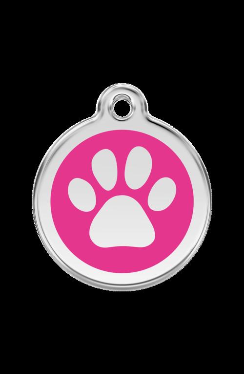 Hot Pink Pawprint Pet Tag