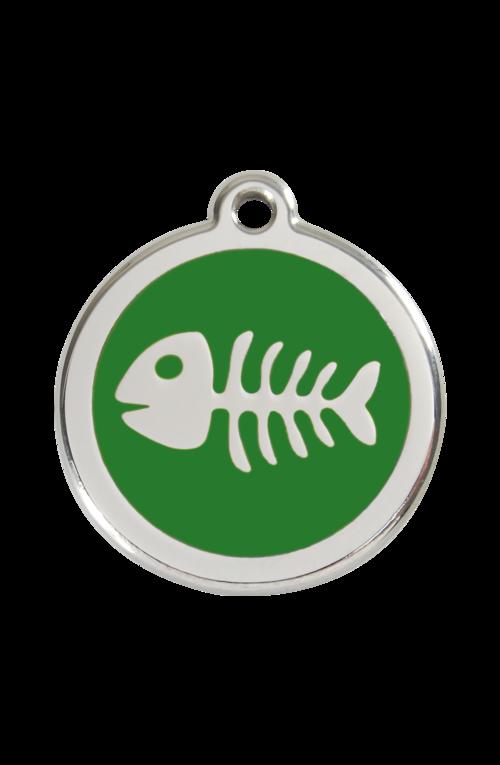 Green Fish Skeleton Pet Tag