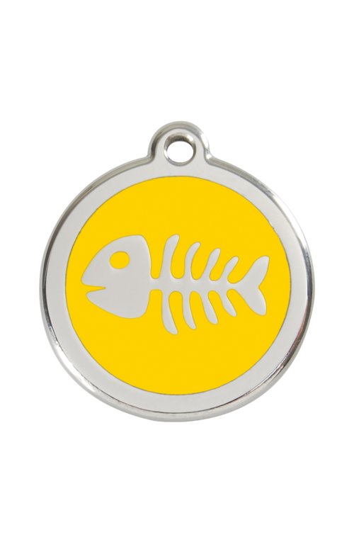 Yellow Fish Skeleton Pet Tag