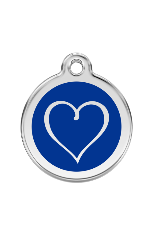 Dark Blue Tribal Heart Pet Tag