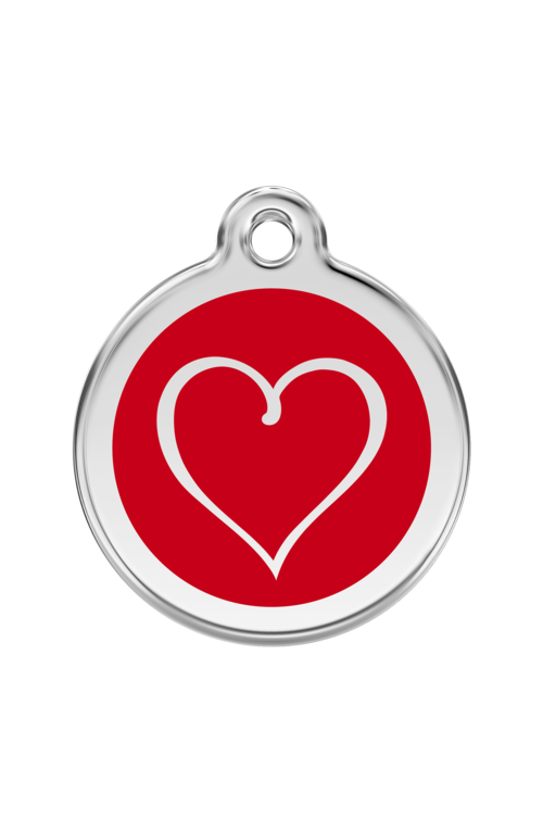 Red Tribal Heart Pet Tag