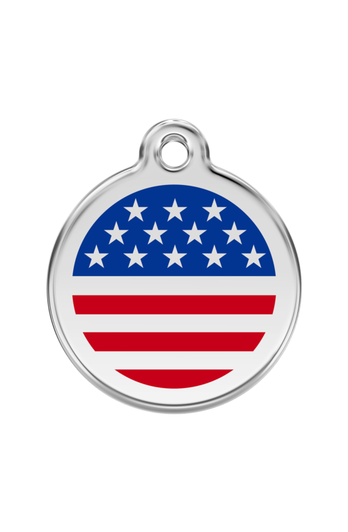 Dark Blue Stars & Stripes US Flag Pet Tag